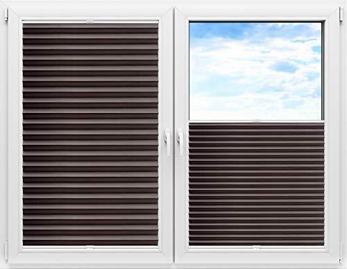 Grabek Plissee Rollo mit Bohren, Plisseerollo zum Anschrauben in der Glasleiste Innenrahmen, Faltrollo für Fenster und Tür, Jalousie Sonnenschutz und Sichtschutz