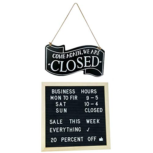 Business Sign Kits Wooden Double Sided Open and Closed and Changeable Letter Board for Customizable Business Hours and Messages, Includes Characters and Suction Cups