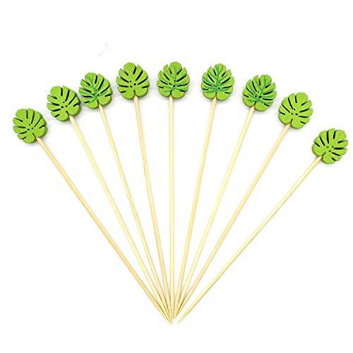 Dylan-EU Bambus Cocktail Picks 5,1 Zoll Obst Cocktail Sticks 100 zählt Fingerfood Spieße Party-Zahnstocher Dekorative Spieße für Obst Cocktails Kuchen Sandwiches Sushi Barbecue - Grüne Blätter