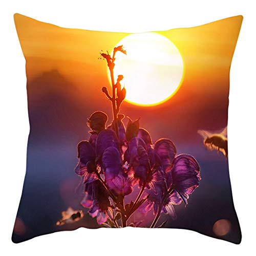 AtHomeShop 45 x 45 cm Fundas de cojín decorativas en poliéster con flores y amanecer, suave y cómoda, funda de cojín cuadrada para sofá, dormitorio, salón, decoración – Naranja lila, estilo 32