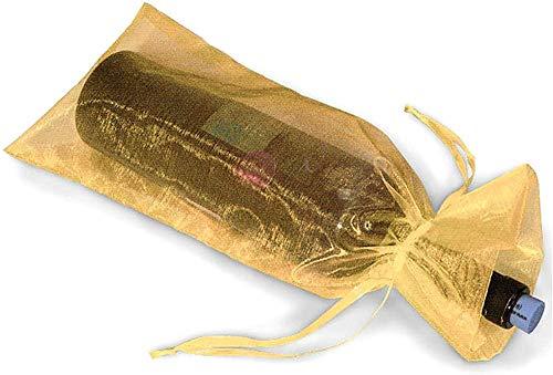 Wacemak1r Bolsas de organza transparente para botellas de vino, bolsa de regalo para bodas, fiestas, velas, cenas, decoración, 10 unidades