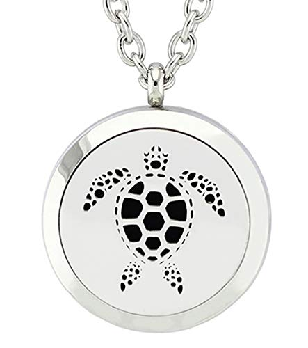 Chunney Aromatherapy Essential Oil Diffuser Necklace-Stainless Steel Locket Pendant with 12 Refill Pads (Turtle)