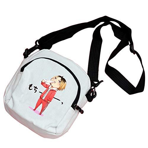 SGOT Anime Haikyuu Cosplay Rucksack Bag Umhängetasche Handtasche - Handy, Schlüssel, ändern 15x16cm/5,9x6,2 Zoll(H-001 Weiß)