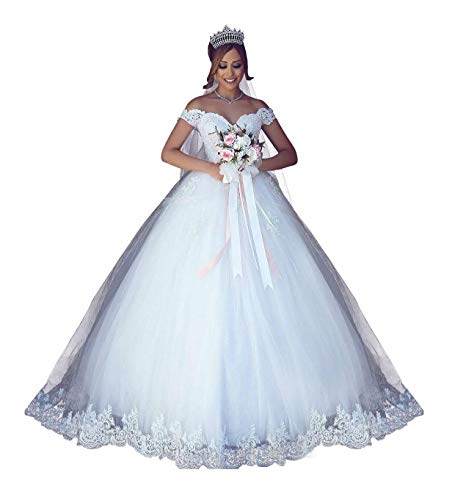 Princess Dress Women's Off The Shoulder Wedding Bridal Ball Gown 2 0 White-style B