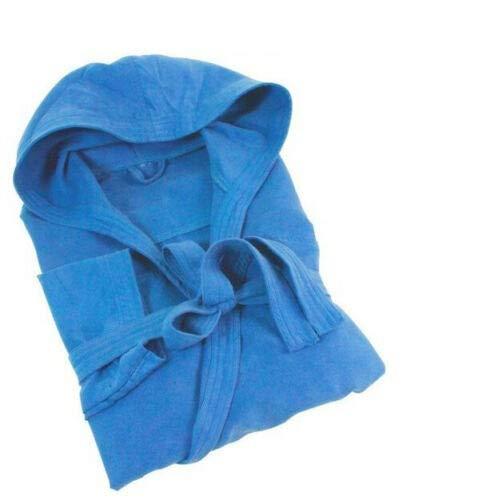 DEMONA Accappatoio in Microfibra con Tasche E Borsa Vogue Cappuccio Uomo Donna Offerta S M L XL XXL Vari Colori Tinta Unita SPEDIZIONE Gratuita (Blu Royal, L)