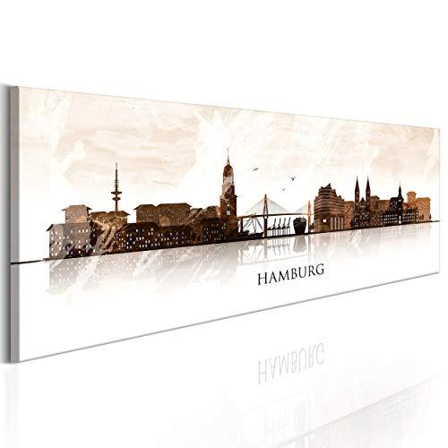 decomonkey Bilder Hamburg 150x45 cm XXL 1 Teilig Leinwandbilder Bild auf Leinwand Vlies Wandbild Kunstdruck Wanddeko Wand Wohnzimmer Wanddekoration Deko Stadt Aquarell City bunt
