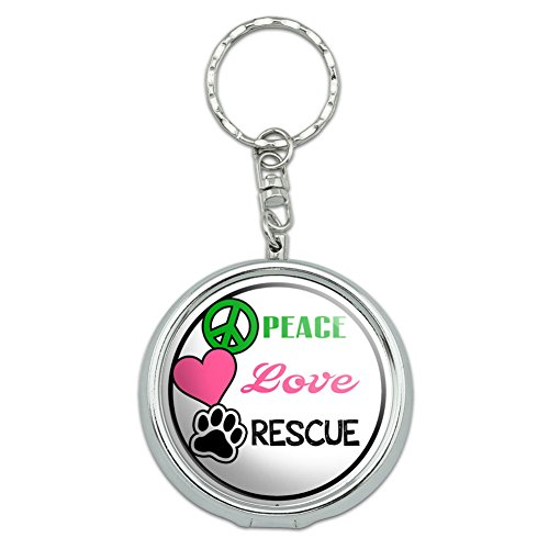 Portable Travel Size Pocket Purse Ashtray Keychain Causes Autism Cancer Adopt - Peace Love Rescue Animal Shelter Dogs