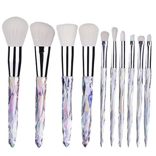 Hengxing Maquillage Brosse Ensemble 10 PCS Manche Transparent Kabuki Poudre Fondation Brosse Correcteur Fard À Paupières Eyeliner Maquillage Outils,Blanc