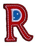 R 9cm ABC rot blau Buchstaben Aufbügler persönlich Dekoration Geschenk zum Aufbügeln auf Kleider Kappe Hut Jacke Schal Halstuch Decke Rucksack Tasche Turnsack Fahne Wimpel Türschild...