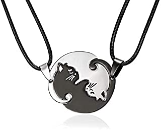 Auch 2 PCS/Set Cat Couple Lover Pendant Necklace Stainless Steel Pet Ying Yang Beloved Romantic Friendship Puzzle Piece Matching Necklace Gift Girlfriend Boyfriend Friends