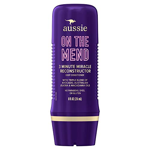 Aussie Reconstructing Deep Conditioner, Hair Mask, Triple Oil Blend of Avocado, Australian Jojoba and Macadamia Oils, Paraben & Dye Free, 8 Oz