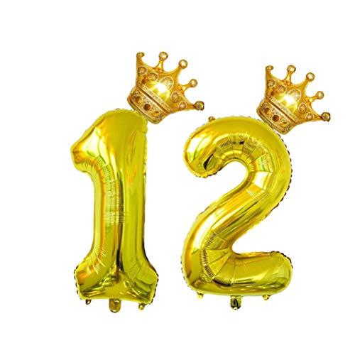Amosfun 4 Piezas Globo de Aluminio para Cumpleaños Número 12 Años con Corona Decoracion para Aniversario Fiesta Cumpleaños 32 Pulgadas Oro