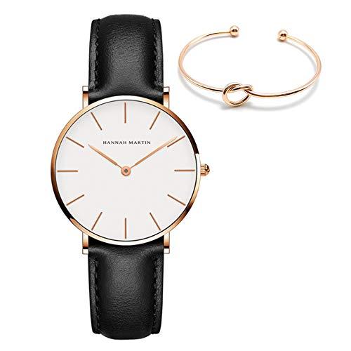 HANNAH MARTIN Señoras Relojes Marrón Analógico Casual Moda Impermeable Reloj Pulsera Con Banda De Cuero Reloj De Mujer