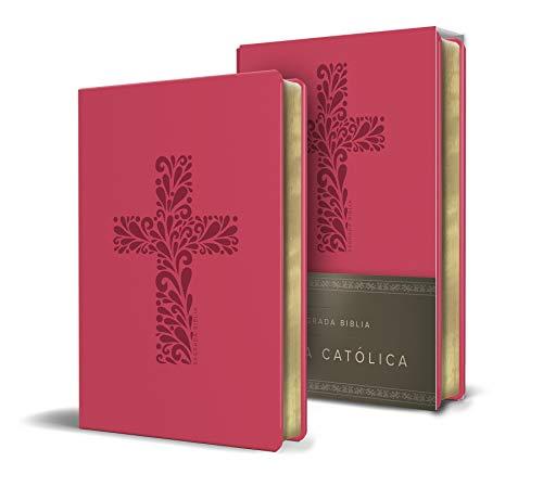 Biblia Católica en español. Símil piel fucsia, tamaño compacto /...