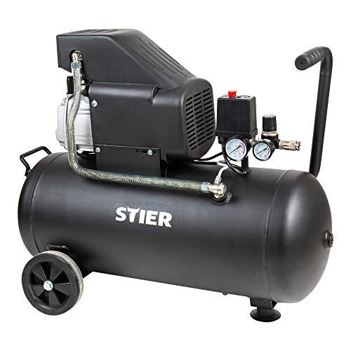 STIER Kompressor LKT 480-8-50 für Druckluft-Werkzeug, 1500 W, 8 bar, 50 Liter Tank, 35 kg, Druckluftkompressor, Werkstattkompressor, Luftdruckkompressor
