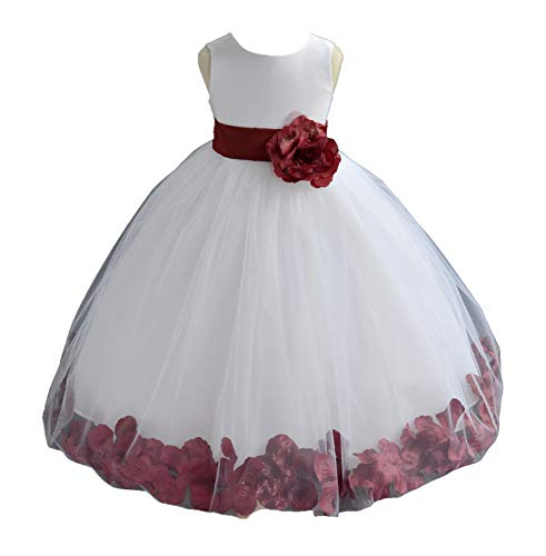 ekidsbridal White Floral Rose Petals Flower Girl Dress Birthday Girl Dress Junior Flower Girl Dresses 302s 6