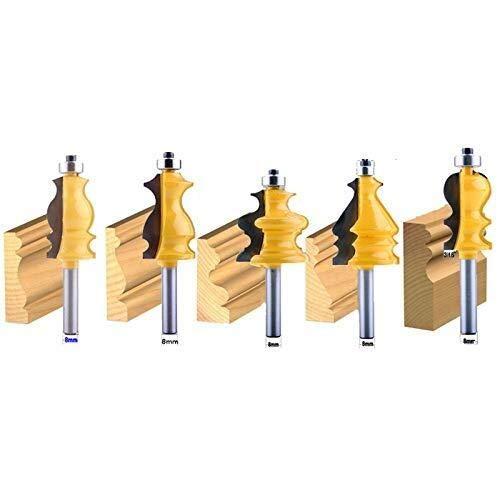 YUQIYU 5Pc 8Mm vástago de la carcasa y Base de Moldeo router bit puesto CNC de la carpintería cuchillo cortador cortador de Tenon for trabajar la madera Herramientas