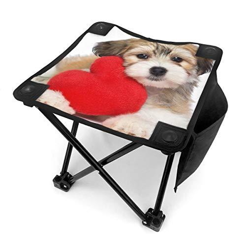 Nicokee Campingstuhl Klappstühle schwarz weiß Welpe Kleiner Hund rot Herz tragbar Stuhl Sitz mit Tragetasche für Outdoor Angeln Sport Wandern Garten Picknick Strand BBQ