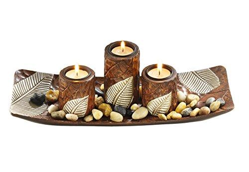 Kobolo Rechteckiger Teelichthalter Dekoschale braun mit DREI dekorativen Kerzenhaltern