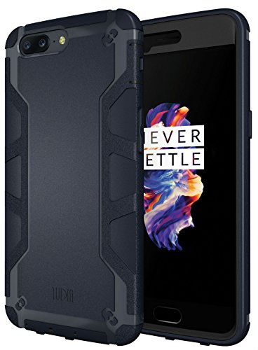 TUDIA OnePlus 5 Case, OMNIX [Heavy Duty] Hybrid [Full-Body] Case with Front Cover and Built-in Screen Protector/Impact Resistant Bumpers for OnePlus 5 (Navy Blue)