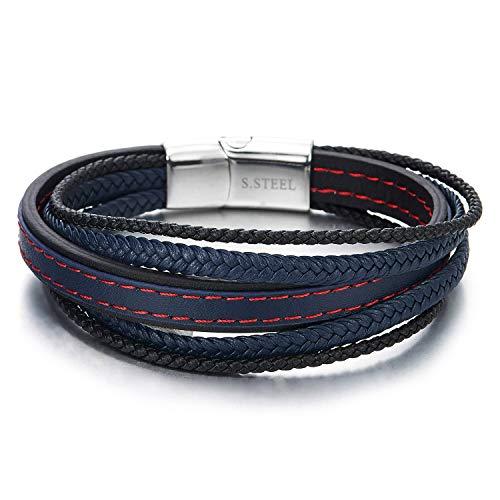 COOLSTEELANDBEYOND Herren Damen Multi-Strang Navy Blau Schwarz Rot Stiche Geflochtene Lederarmband Armband Leder Schweißband Edelstahl