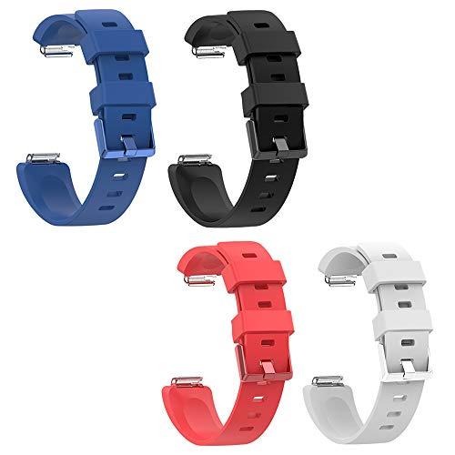 AFUNTA Horlogebanden Compatibel met Fitbit Inspire, 4 Stks Waterdichte Zachte Siliconen Vervanging Verstelbare Smartwatch Fitness Band Polsbanden, Groot & Klein, Zwart/Blauw/Rood/Wit