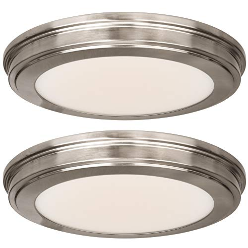 13 inch Flush Mount Ceiling Light, 3000K/4000K/5000K CCT, 20W [180W Equiv.] 1365LM CRI90, Surface Mount LED Light Fixture with Brushed Nickel for Kitchen Bathroom Bedroom, ETL Listed - 2 Pack