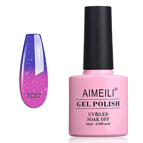 AIMEILI Esmalte Semipermanente De Uñas Temperatura Cambio De Color Camaleón Soak Off UV LED Uñas De Gel - Aqua Mist (TC07) 10ml