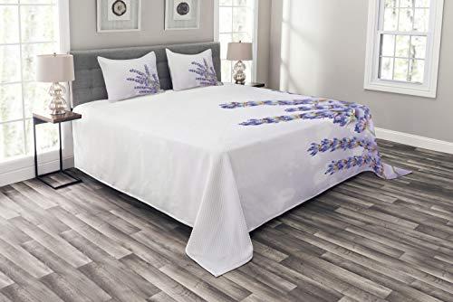 ABAKUHAUS Lavendel Tagesdecke Set, Frischer Kraut-Betrieb Posy, Set mit Kissenbezügen Sommerdecke, für Doppelbetten 264 x 220 cm, Lavendel