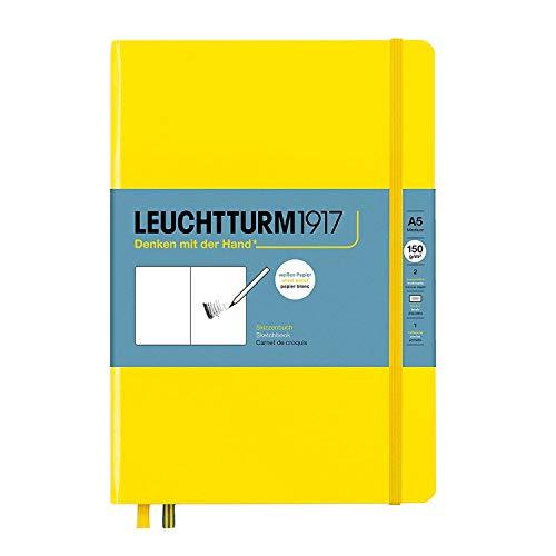 LEUCHTTURM1917 Medium Sketchbook, Lemon, 112 Pages, Plain - 150g/m² Paper, Hardcover A5 Drawing Book