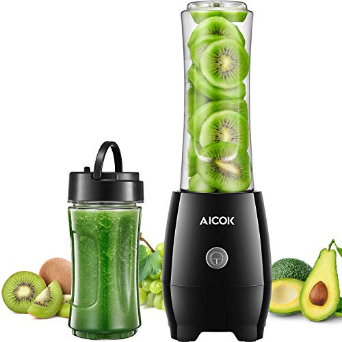 Personal Smoothie Blender, Portable Bullet Blender for Shakes and Smoothies, Mini Smoothie Maker Mixer Food Processor with 2 x 20oz BPA-Free Travel Blender Bottles, 300W, by AICOK