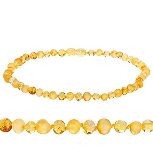 KONZFP Collar Collar de dentición de ámbar Original para Mujer, Pulsera de ámbar Dorado y Cristal Rosa para Regalo de bebé