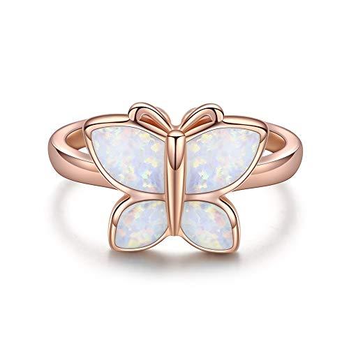 KINGWHYTE Sterling Silber Schmetterling offener Opal verstellbarer Ring für Frauen Mädchen Geschenk (Roségold)
