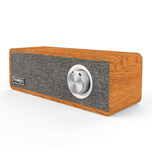 Wood Bluetooth Speaker, Smalody Portable Mini Wireless Bluetooth Speakers, Wood Speaker for Room Decoration, Perfect for Cafes, Restaurants, Vintage Coth Stores, Bedroom etc (Gray)