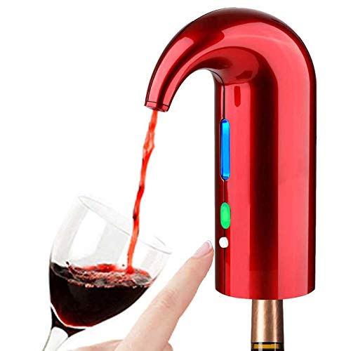 Decantador De Aireador De Vino Eléctrico Con Tapón De Vino Al Vacío, Oxidante De Vino De Un Toque Y Decantador De Vino Para Vino Tinto Y Blanco Que Mejora El Sabor Del Vino,Rojo