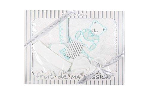 Coffret parure de bain naissance 5 pcs (Blanc vert ours)