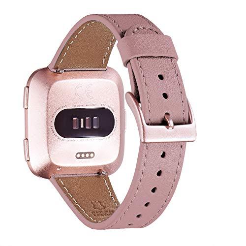 WFEAGL für Fitbit Versa Armband,Top Grain Lederband Ersatzband mit Edelstahl-Verschluss für Fitbit Versa/Versa 2 /Versa Lite/Versa SE Fitness Smart Watch(Roségold) (Lila/Roségold)