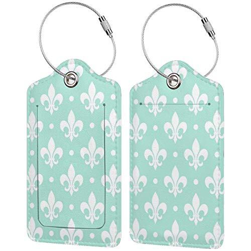 Etiquetas de equipaje de color blanco con diseño de flor de lis...