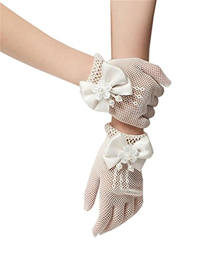 ESEE Flower Girl Gloves Lace Bowknot Princess Gloves for Wedding and Special Occasion, White, One Size