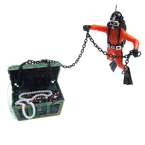Alfie Pet - Dewi Aquarium Floating Diver Ornament - Color: Black