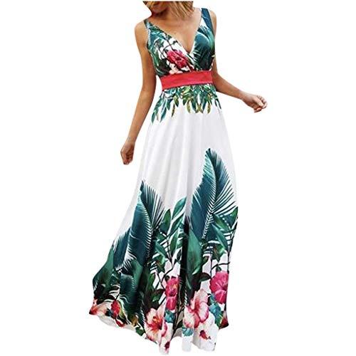 Damen Kleider Sommer V Ausschnitt Ärmellos Sexy Strandkleid Jeanskleid Kleid Große Größe Kleid Polyester Bohemien Bedruckt Partykleid Maxikleid (EU:36, Grün)