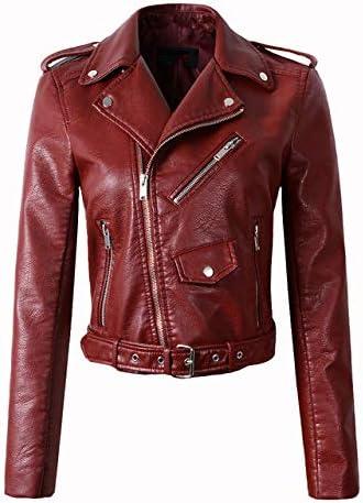 ZPDHY Women Jacket, Faux Leather PU Jacket Women Jacket,Fashion Motorcycle Jacket Black Faux Leather Coats Outerwear Coat