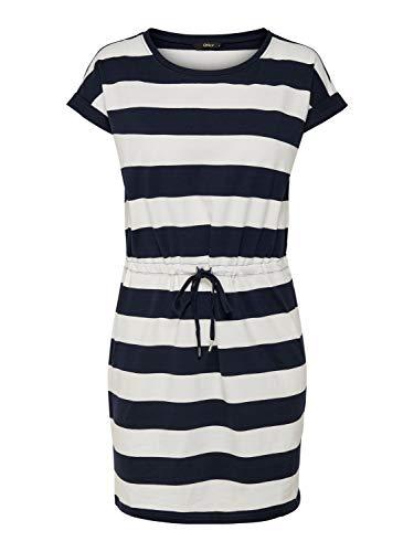 Only Onlamber SS Fold Up Dress Noos Vestito, Multicolore (Cloud Dancer Stripes:Night Sky), 42 (Taglia Produttore: Small) Donna