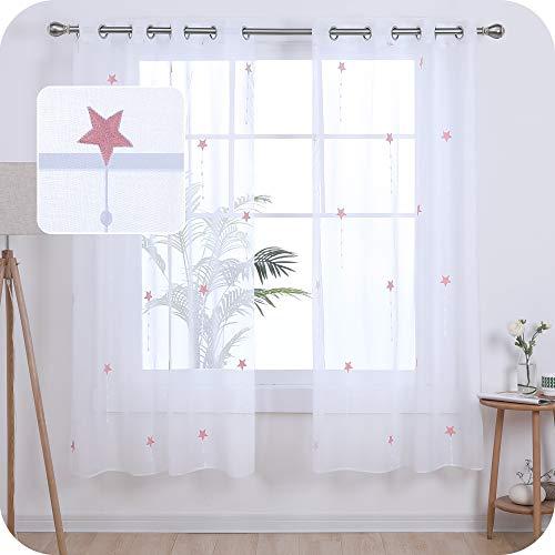 UMI. by Amazon 2 Stück Voile Vorhang Leinentextur Gardinen mit Ösen Vorhänge Schlafzimmer Stern Deko Ösenschal 175x140 cm Pink