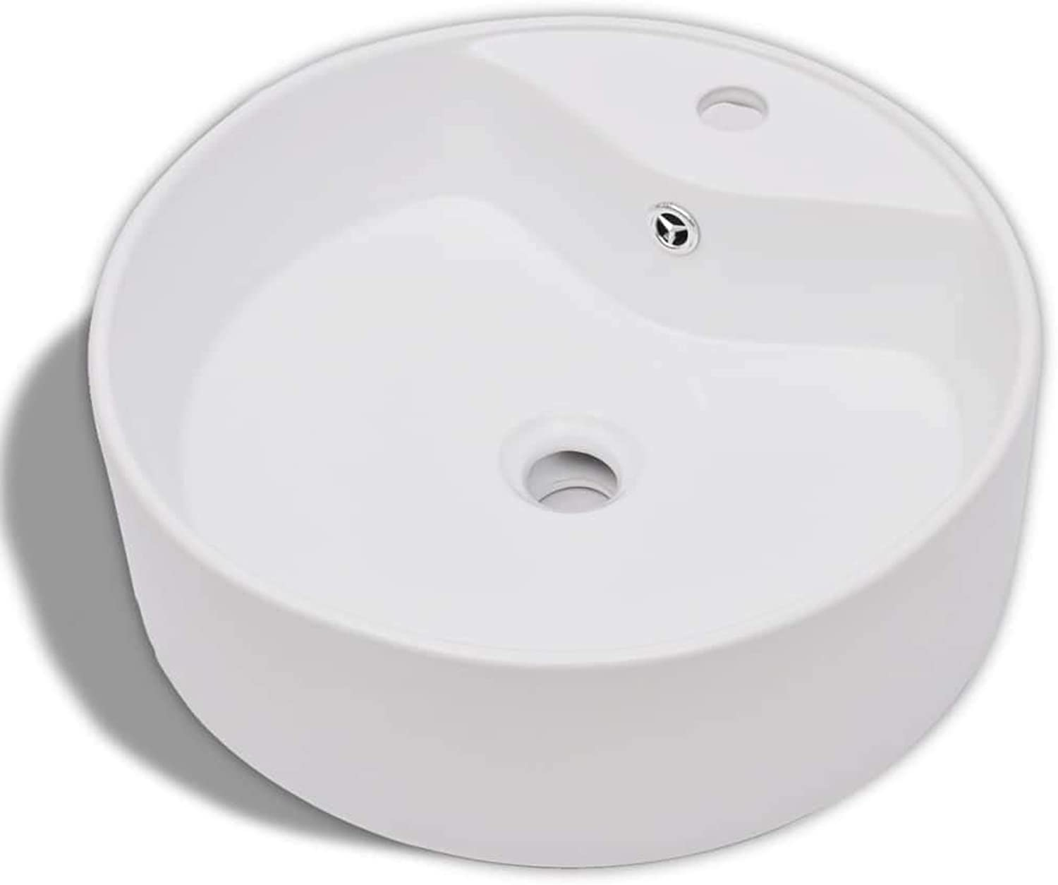Ceramic Washbasin Tap Hole Overflow Hole White Round Washbasin