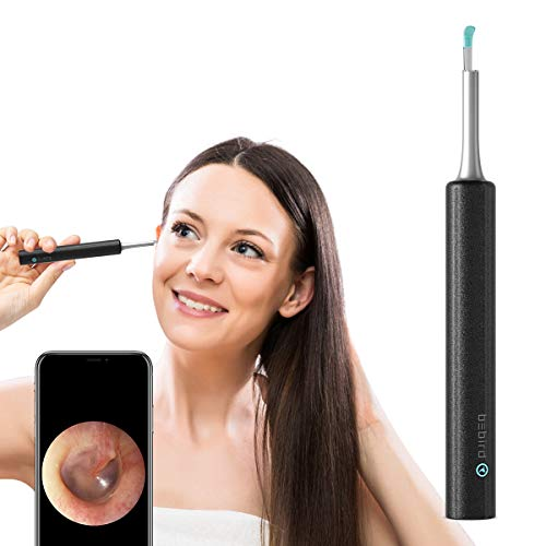 BEBIRD WiFi Otoscope 3.9mm Ear Cleaning Endoscope HD 1080P Wireless Ear Inspection Camera, Waterproof 3-Axis Gyroscope Earwax Removal Tool for Kids Adults Work with iOS Android Phone Tablet (Black)