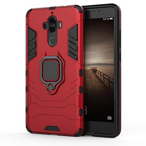 CHcase Huawei Mate 9 Funda, 2in1 Armadura Combinación A Prueba de Choques Heavy Duty Escudo Cáscara Dura PC + TPU Silicona con Soporte Magnetic Car Mount Case Cover para Huawei Mate 9 -Red