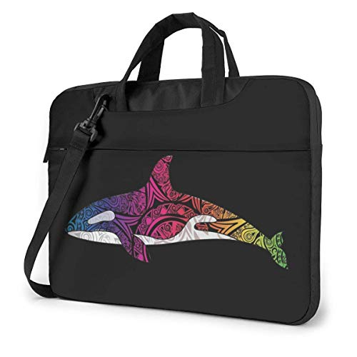Orca Killer Whale Quakeproof Laptop Bag Maletín Hombro Messenger Bag Satchel Tablet Bussiness Carrying Handbag 15.6Inch