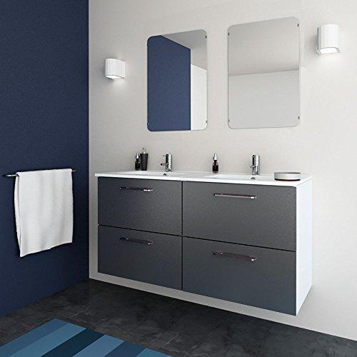 Mueble de baño moderno doble Easy | Ancho 120 cm | 120 x 60 x 45 cm Gris | Mueble doble + lavabo cerámica de doble seno