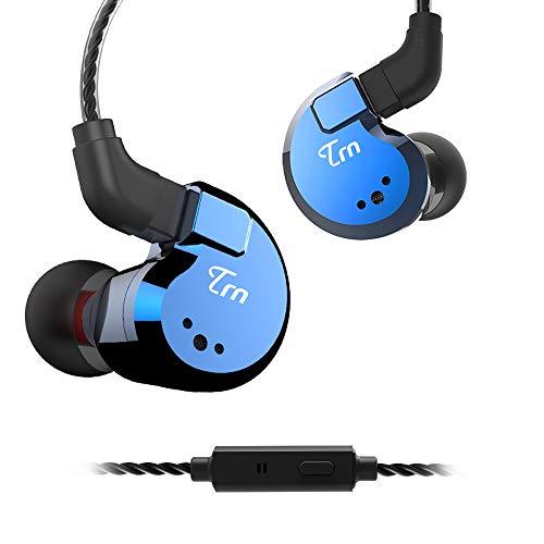 TRN V80 kopfhörer Balanced Monitor Ohrhörer, Yinyoo Handy Headset Quad Treiber 2DD 2BA Hybrid In Ear Monitor mit abnehmbaren 2Pin Kabel(blau mit Mic)